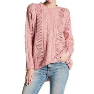 John Jenn Pink cable knit oversized sweater tunic